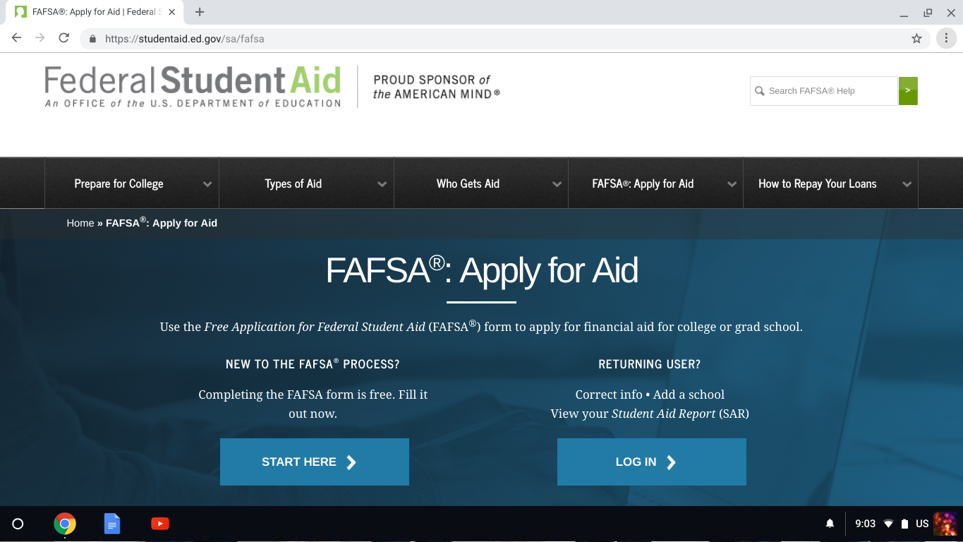 FAFSA Application  Website is available for student aid.