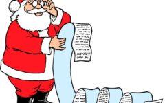 Santa checks his list for naughty or nice kids.