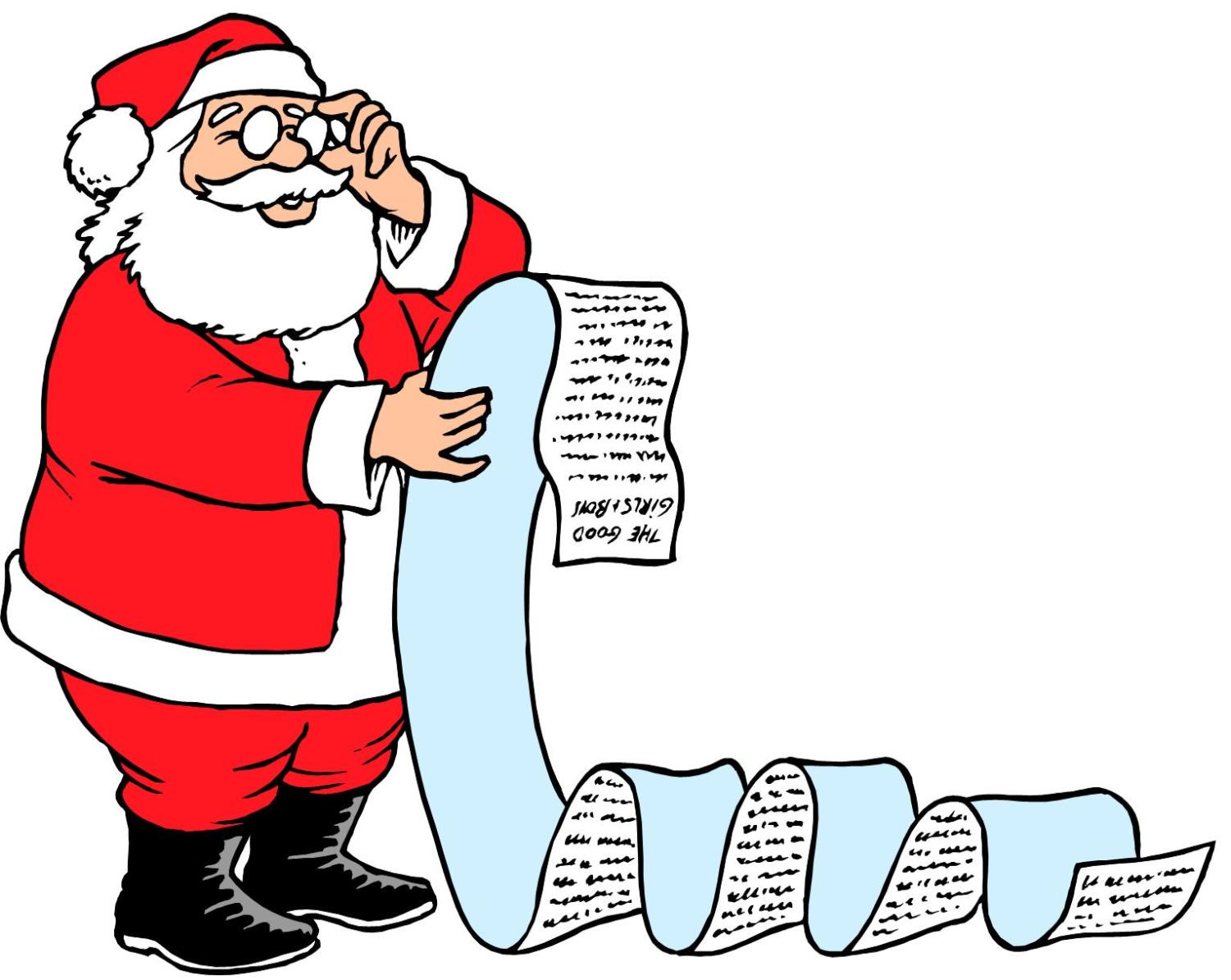 Santa checks his list for naughty or nice kids.