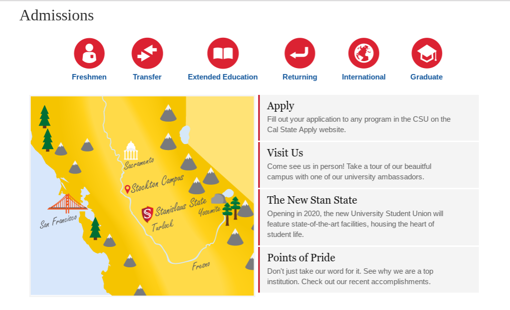 Stanislaus State Admissions Page