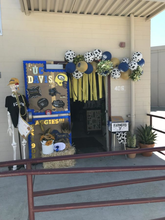 Mrs.+Fajardo%27s+fourth+period+won+the+door+decorating+contest+with+a+beautiful+display+representing+UC+Davis.