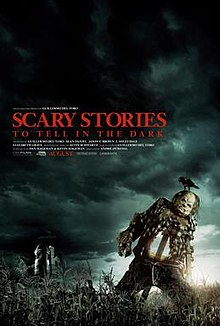 This movie poster shows a scary looking figure from the film, Harold the scarecrow.