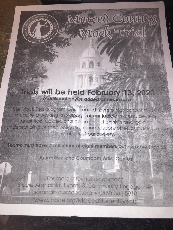 Flyer for Mock Trial Team