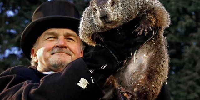 Punxsutawney+Phil+the+famous+Groundhog+and+groundhog+handler+John+Griffiths.