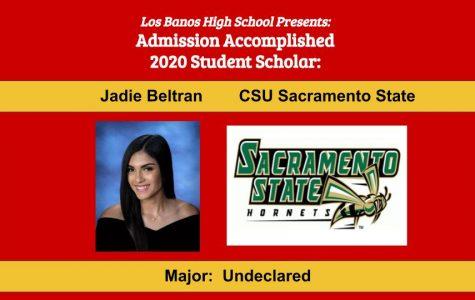 Admission Accomplished:   2020 Graduate Jadie Beltran