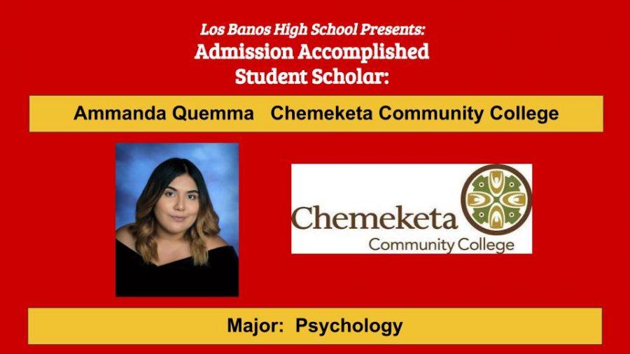 Admission Accomplished:  2020 Graduate Ammanda Quemma