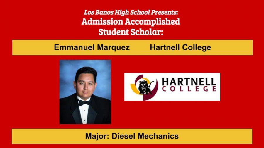 Admission Accomplished:  2020 Graduate Emmanuel Marquez