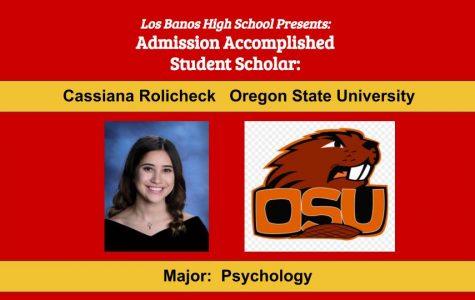 Admission Accomplished:  2020 Graduate Cassiana Rolicheck