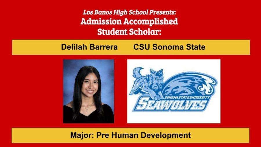Admission Accomplished: 2020 Graduate Delilah Barrera