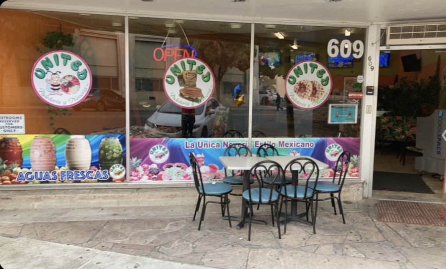 Local business, Paleteria United offers outdoor seating due to Covid-19.