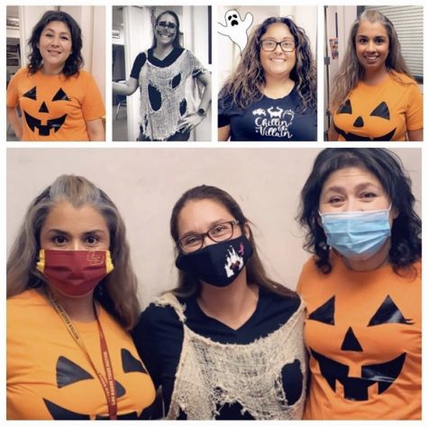 "Staff members dressed up for the dress up day ""Spooky class colors."""