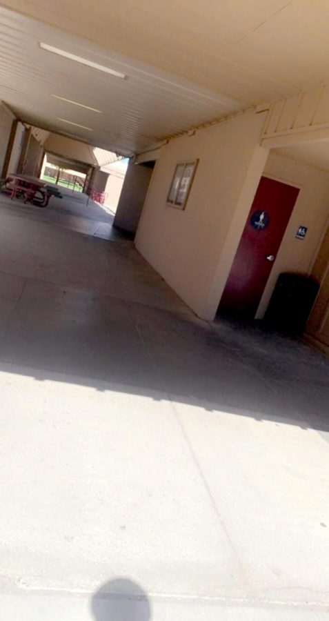 The empty halls of Los Banos High School.