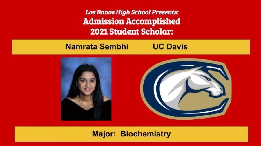 Admission Accomplished:  Namrata Sembhi