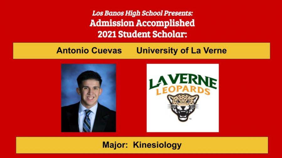 Admission Accomplished:  Antonio Cuevas