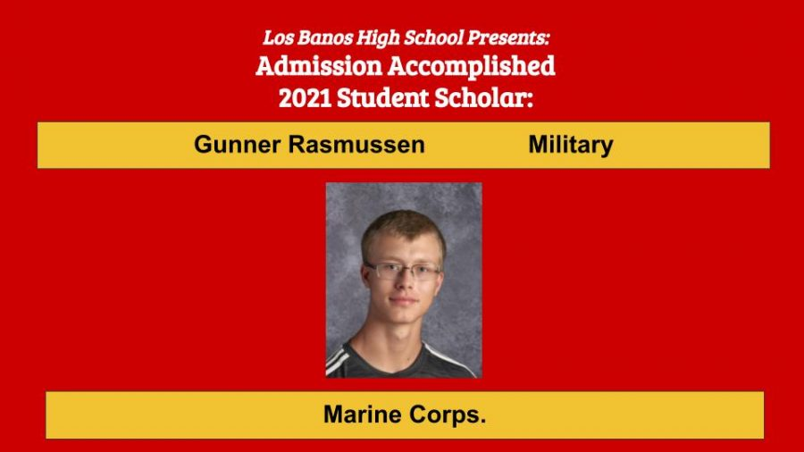 Admission Accomplished:  Gunner Rasmussen
