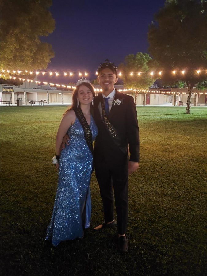 Prom King, Larry Rosales and Prom Queen, Tessa Alberti enjoy the honor of the night.